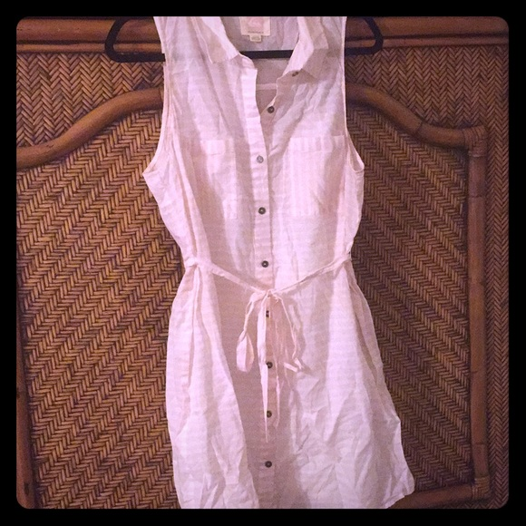 Quicksilver button down dress pink & white stripe